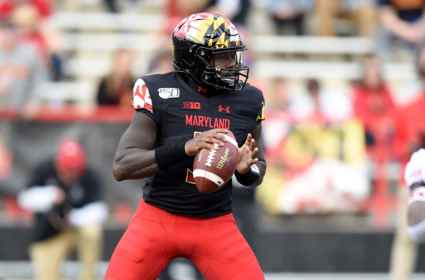 COLLEGE PARK, MD - OCTOBER 19: Tyrrell Pigrome #3 of the Maryland Terrapins drops back to pass against the Indiana Hoosiers at Maryland Stadium on October 19, 2019 in College Park, Maryland. (Photo by G Fiume/Maryland Terrapins/Getty Images)