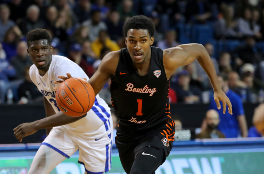 BUFFALO, NY - JANUARY 31: Justin Turner #1 of the Bowling Green Falcons brings the ball up court during the second half against the Buffalo Bulls at Alumni Arena on January 31, 2020 in Buffalo, New York. Bowling Green beats Buffalo 78 to 77. (Photo by Timothy T Ludwig/Getty Images)