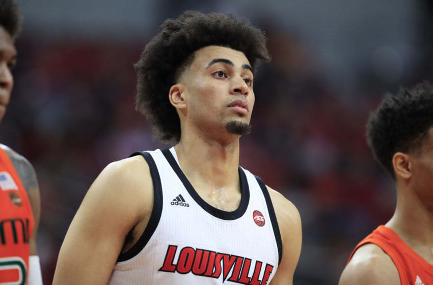 LOUISVILLE, KENTUCKY - JANUARY 07: Jordan Nwora #33 of the Louisville Cardinals during the game against the Miami Hurricanes at KFC YUM! Center on January 07, 2020 in Louisville, Kentucky. (Photo by Andy Lyons/Getty Images)