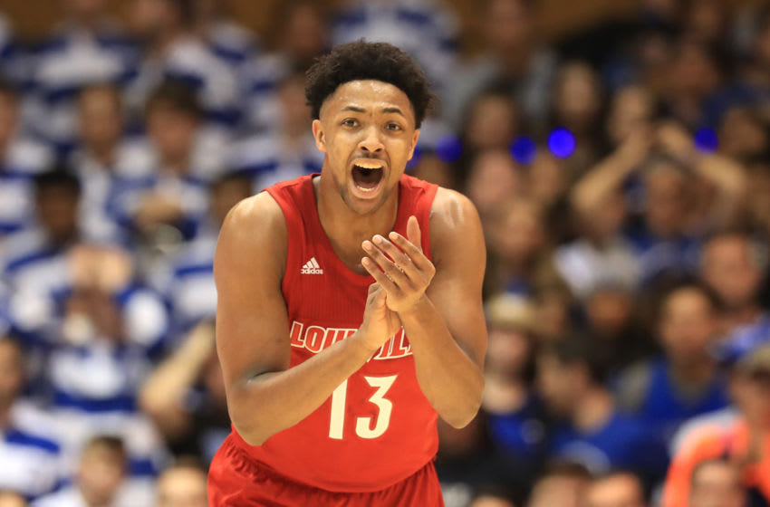 DURHAM, NORTH CAROLINA - JANUARY 18: David Johnson #13 of the Louisville Cardinals reacts after a play against the Duke Blue Devils during their game at Cameron Indoor Stadium on January 18, 2020 in Durham, North Carolina. (Photo by Streeter Lecka/Getty Images)