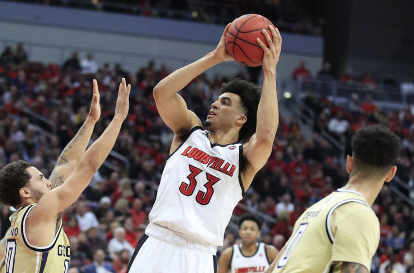LOUISVILLE, KENTUCKY - JANUARY 22: Jordan Nwora #33 of the Louisville Cardinals shoots the ball against the Georgia Tech Yellow Jackets at KFC YUM! Center on January 22, 2020 in Louisville, Kentucky. (Photo by Andy Lyons/Getty Images)