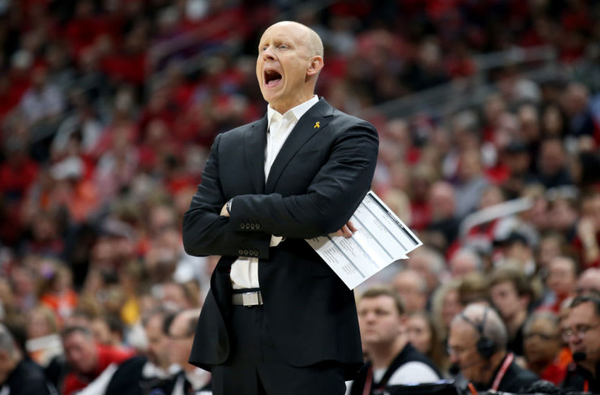 LOUISVILLE, KENTUCKY - JANUARY 25: Chris Mack the head coach of the Louisville Cardinals gives instructions to his team against the Clemson Tigers at KFC YUM! Center on January 25, 2020 in Louisville, Kentucky. (Photo by Andy Lyons/Getty Images)