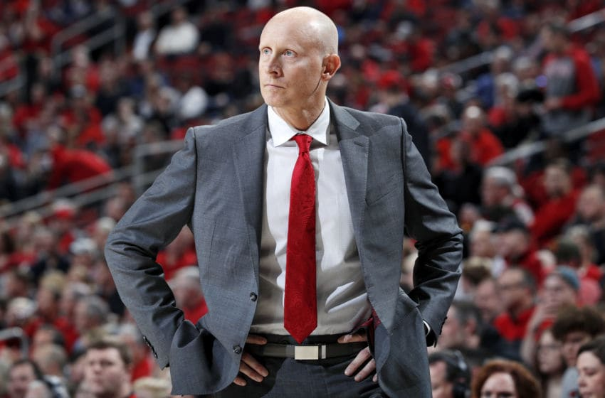 LOUISVILLE, KY - FEBRUARY 05: Head coach Chris Mack of the Louisville Cardinals looks on during a game against the Wake Forest Demon Deacons at KFC YUM! Center on February 5, 2020 in Louisville, Kentucky. Louisville defeated Wake Forest 86-76. (Photo by Joe Robbins/Getty Images)
