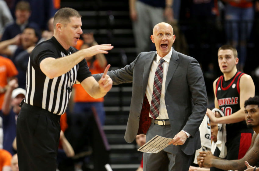 CHARLOTTESVILLE, VA - MARCH 07: Head coach Chris Mack of the Louisville Cardinals is assessed a technical foul in the first half during a game against the Virginia Cavaliers at John Paul Jones Arena on March 7, 2020 in Charlottesville, Virginia. (Photo by Ryan M. Kelly/Getty Images)
