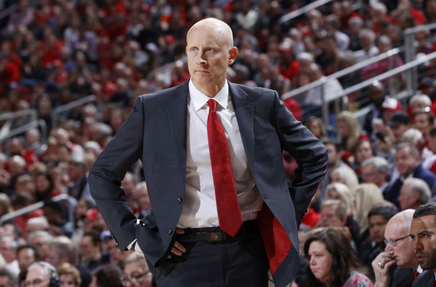 LOUISVILLE, KY - FEBRUARY 19: Head coach Chris Mack of the Louisville Cardinals looks on against the Syracuse Orange in the second half of a game at KFC YUM! Center on February 19, 2020 in Louisville, Kentucky. Louisville defeated Syracuse 90-66. (Photo by Joe Robbins/Getty Images)