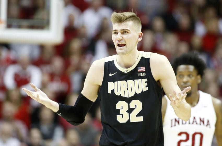 BLOOMINGTON, INDIANA - FEBRUARY 08: Matt Haarms #32 of the Purdue Boilermakers reacts after a call in the game against the Indiana Hoosiers at Assembly Hall on February 08, 2020 in Bloomington, Indiana. (Photo by Justin Casterline/Getty Images)