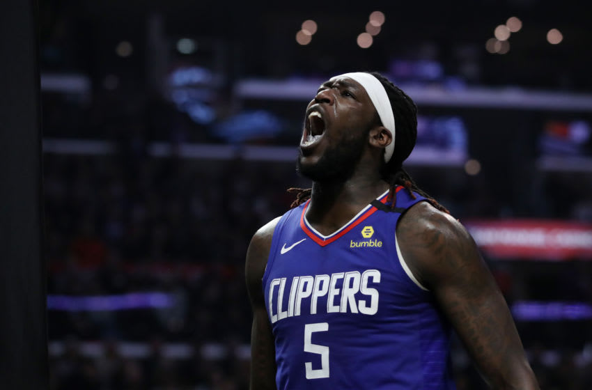 LOS ANGELES, CALIFORNIA - FEBRUARY 22: Montrezl Harrell #5 of the LA Clippers reacts during the fourth quarter in a game against the Sacramento Kings at Staples Center on February 22, 2020 in Los Angeles, California. The Kings won 112-103. NOTE TO USER: User expressly acknowledges and agrees that, by downloading and or using this Photograph, user is consenting to the terms and conditions of the Getty Images License Agreement. (Photo by Katelyn Mulcahy/Getty Images)