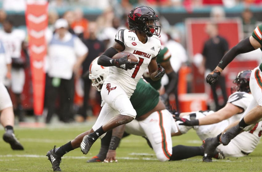 MIAMI, FLORIDA - NOVEMBER 09: Tutu Atwell #1 of the Louisville Cardinals in action against the Miami Hurricanes during the first half at Hard Rock Stadium on November 09, 2019 in Miami, Florida. (Photo by Michael Reaves/Getty Images)