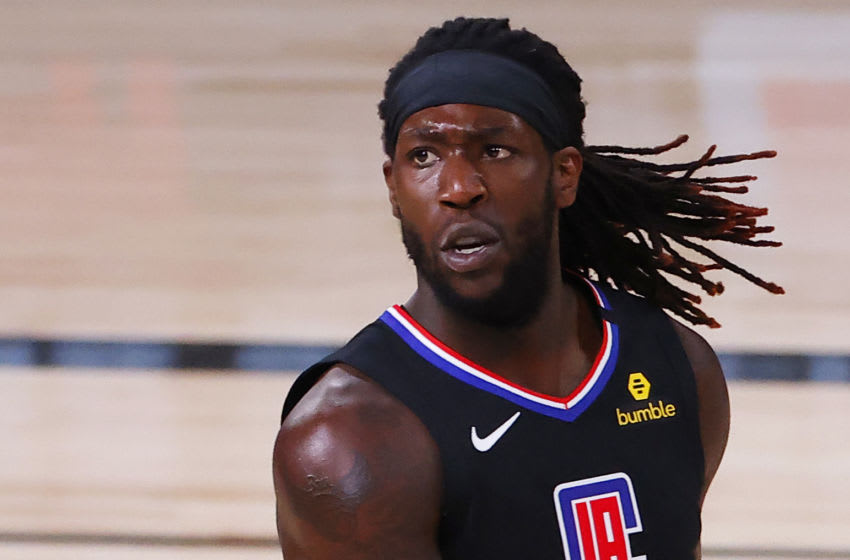 LAKE BUENA VISTA, FLORIDA - AUGUST 17: h5 reacts after making a basket against the Dallas Mavericks during the third quarter in Game One of the Western Conference First Round during the 2020 NBA Playoffs at AdventHealth Arena at ESPN Wide World Of Sports Complex on August 17, 2020 in Lake Buena Vista, Florida. (Photo by Kevin C. Cox/Getty Images)