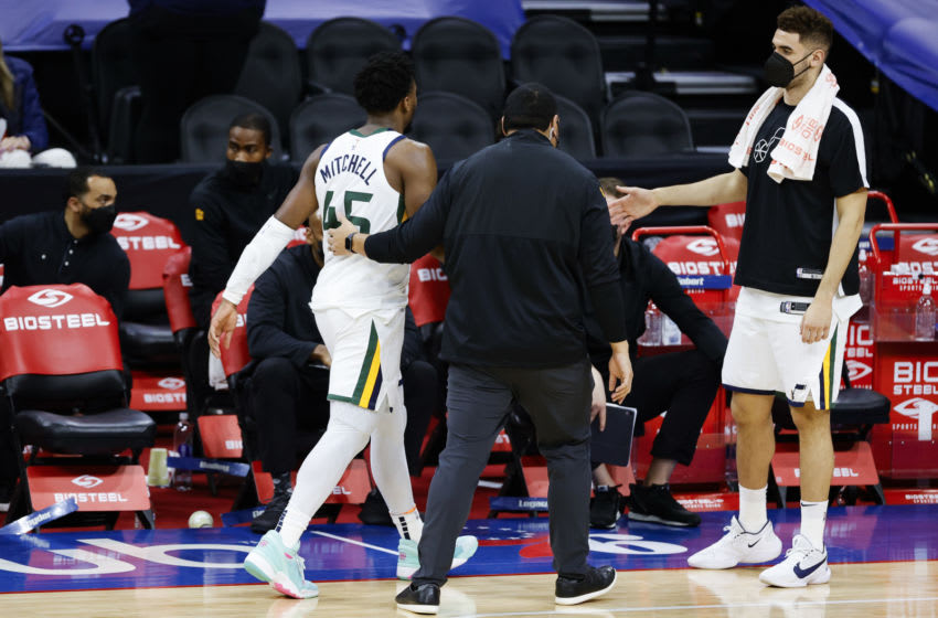 Donovan Mitchell #45 of the Utah Jazz is escorted off the court after being ejected during overtime (Photo by Tim Nwachukwu/Getty Images)