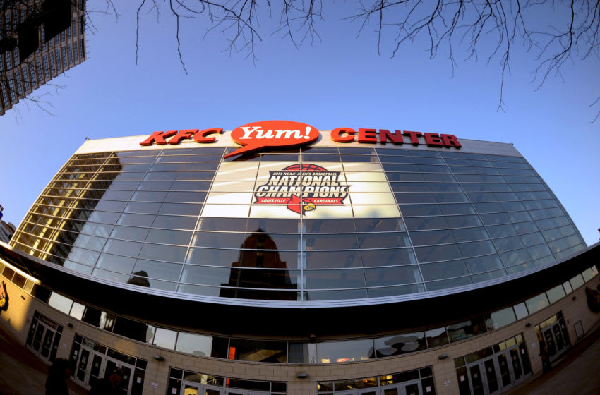 A general view outside the KFC Yum! Center (Photo by Lance King/Getty Images)