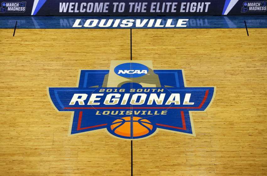 A detail view of the 2016 NCAA Men's Basketball Tournament South Regional logo at half court prior to the game between the Kansas Jayhawks and the Villanova Wildcats at KFC YUM! Center on March 26, 2016 in Louisville, Kentucky. (Photo by Tim Bradbury/Getty Images)