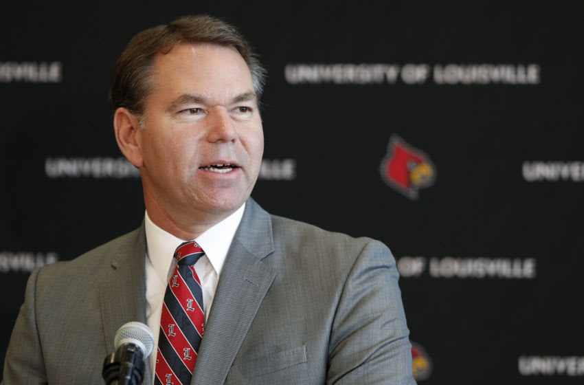Athletic director Vince Tyra speaks Louisville Cardinals (Photo by Joe Robbins/Getty Images) *** Local Caption *** Vince Tyra