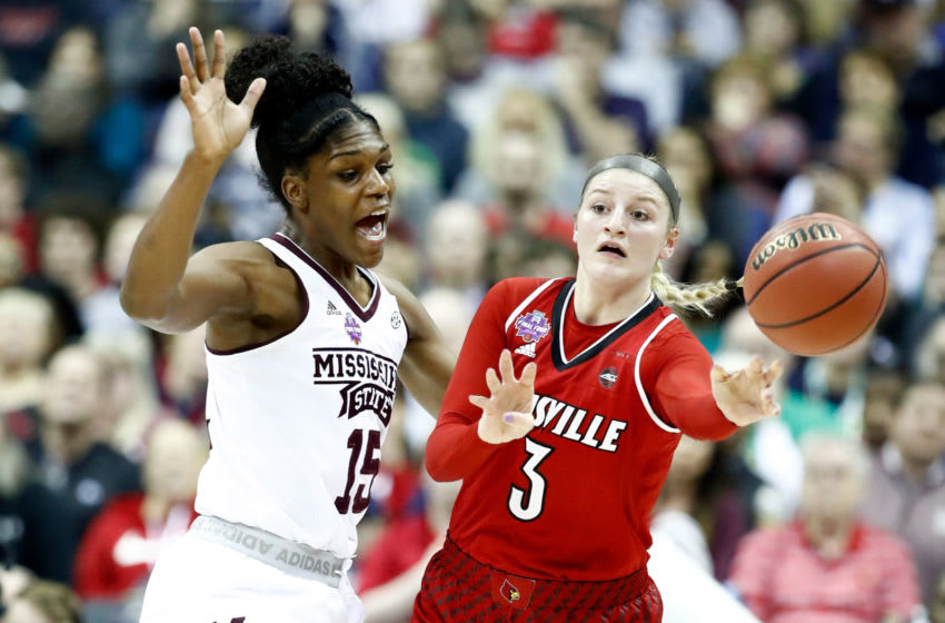 COLUMBUS, OH - MARCH 30: Sam Fuehring #3 of the Louisville Cardinals is defended by Teaira McCowan #15 of the Mississippi State Lady Bulldogs during the first half in the semifinals of the 2018 NCAA Women's Final Four at Nationwide Arena on March 30, 2018 in Columbus, Ohio. (Photo by Andy Lyons/Getty Images)