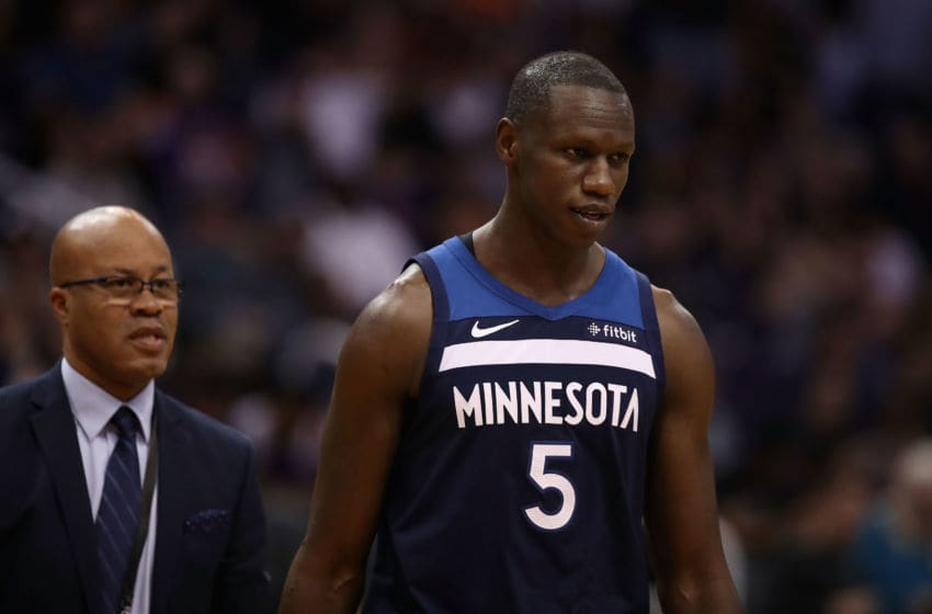 PHOENIX, ARIZONA - JANUARY 22: Gorgui Dieng #5 of the Minnesota Timberwolves is escorted off the court after being ejected during the second half of the NBA game against the Phoenix Suns at Talking Stick Resort Arena on January 22, 2019 in Phoenix, Arizona. The Timberwolves defeated the Suns 118-91. (Photo by Christian Petersen/Getty Images)
