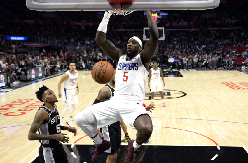 LOS ANGELES, CA - FEBRUARY 03: Montrezl Harrell #5 of the Los Angeles Clippers dunks the ball against the San Antonio Spurs during the second half at Staples Center on February 3, 2020 in Los Angeles, California. NOTE TO USER: User expressly acknowledges and agrees that, by downloading and/or using this Photograph, user is consenting to the terms and conditions of the Getty Images License Agreement. (Photo by Kevork Djansezian/Getty Images)