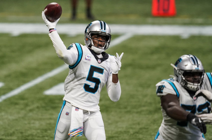 Oct 11, 2020; Atlanta, Georgia, USA; Carolina Panthers quarterback Teddy Bridgewater (5) passes the ball against the Atlanta Falcons during the second half at Mercedes-Benz Stadium. Mandatory Credit: Dale Zanine-USA TODAY Sports