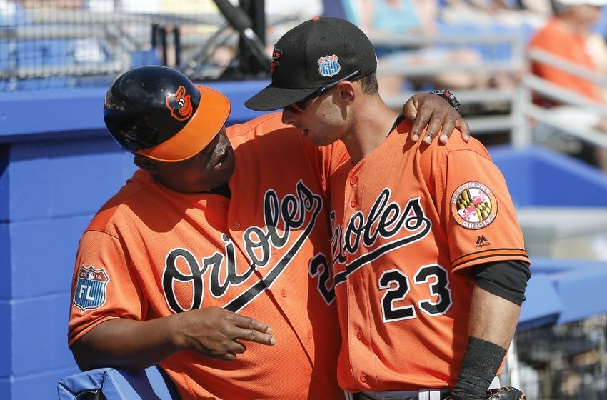 Mar 4, 2016; Dunedin, FL, USA; Baltimore Orioles first base coach Wayne Kirby (24) talks with Orioles center fielder Joey Rickard (23) during the fifth inning of a spring training baseball game against the Toronto Blue Jays at Florida Auto Exchange Park. Mandatory Credit: Reinhold Matay-USA TODAY Sports