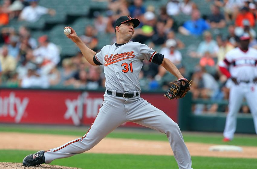 Aug 7, 2016; Chicago, IL, USA; Baltimore Orioles relief pitcher Ubaldo Jimenez (31) delivers a pitch during the eighth inning against the Chicago White Sox at U.S. Cellular Field. Baltimore won 10-2. Mandatory Credit: Dennis Wierzbicki-USA TODAY Sports