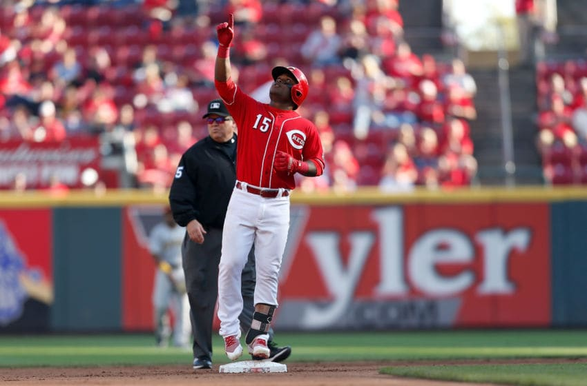 CINCINNATI, OH - SEPTEMBER 29: Dilson Herrera #15 of the Cincinnati Reds celebrates at second base after hitting a double during the fourth inning of the game against the Pittsburgh Pirates at Great American Ball Park on September 29, 2018 in Cincinnati, Ohio. Cincinnati defeated Pittsburgh 3-0. (Photo by Kirk Irwin/Getty Images)