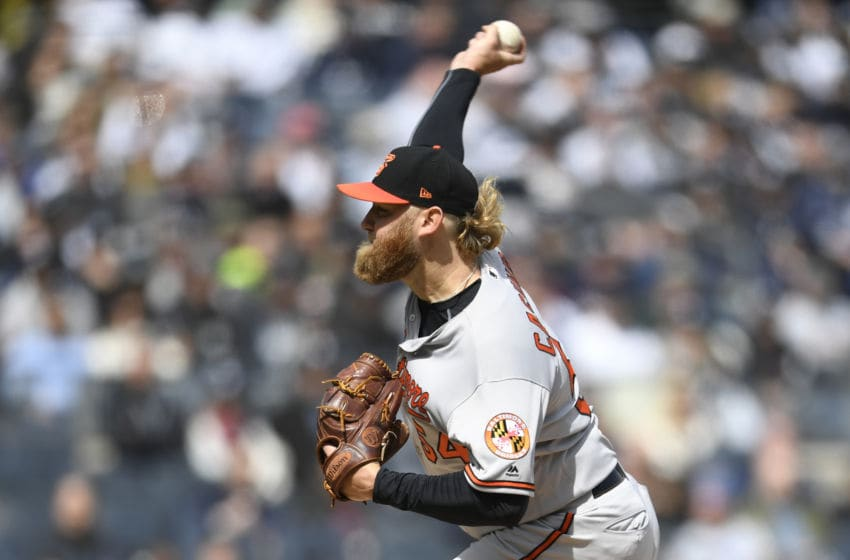 NEW YORK, NEW YORK - MARCH 28: Andrew Cashner #54 of the Baltimore Orioles pitches during the first inning of the game against the New York Yankees on Opening Day at Yankee Stadium on March 28, 2019 in the Bronx borough of New York City. (Photo by Sarah Stier/Getty Images)