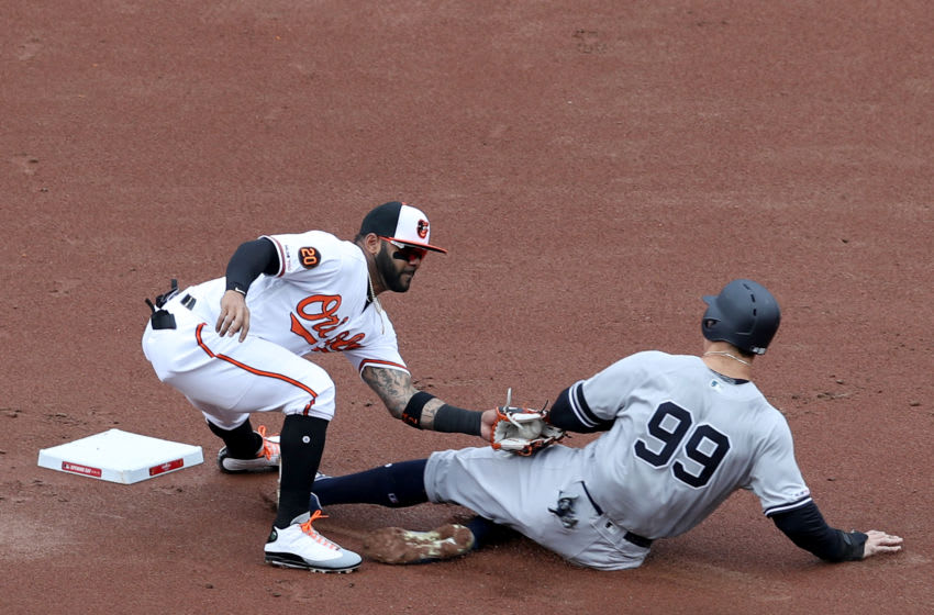 BALTIMORE, MARYLAND - APRIL 04: Jonathan Villar #2 of the Baltimore Orioles tags out Aaron Judge #99 of the New York Yankees stealing second base for the third out of the first inning at Oriole Park at Camden Yards on April 04, 2019 in Baltimore, Maryland. (Photo by Rob Carr/Getty Images)