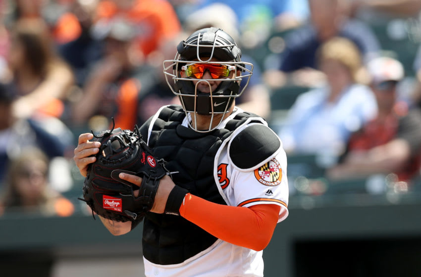 BALTIMORE, MARYLAND - APRIL 07: Catcher Pedro Severino #28 of the Baltimore Orioles looks on against the New York Yankees at Oriole Park at Camden Yards on April 07, 2019 in Baltimore, Maryland. (Photo by Rob Carr/Getty Images)