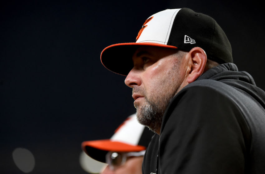 BALTIMORE, MD - MAY 04: Manager Brandon Hyde #18 of the Baltimore Orioles looks on during the game against the Tampa Bay Rays at Oriole Park at Camden Yards on May 4, 2019 in Baltimore, Maryland. (Photo by Will Newton/Getty Images)