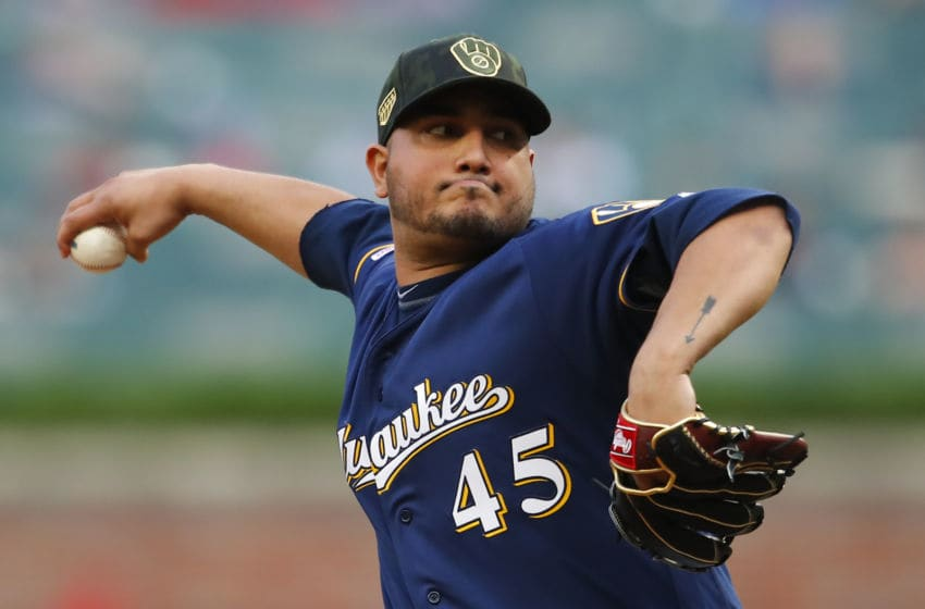 ATLANTA, GA - MAY 17: Jhoulys Chacin #45 of the Milwaukee Brewers delivers in the first inning of an MLB game against the Atlanta Braves at SunTrust Park on May 17, 2019 in Atlanta, Georgia. (Photo by Todd Kirkland/Getty Images)