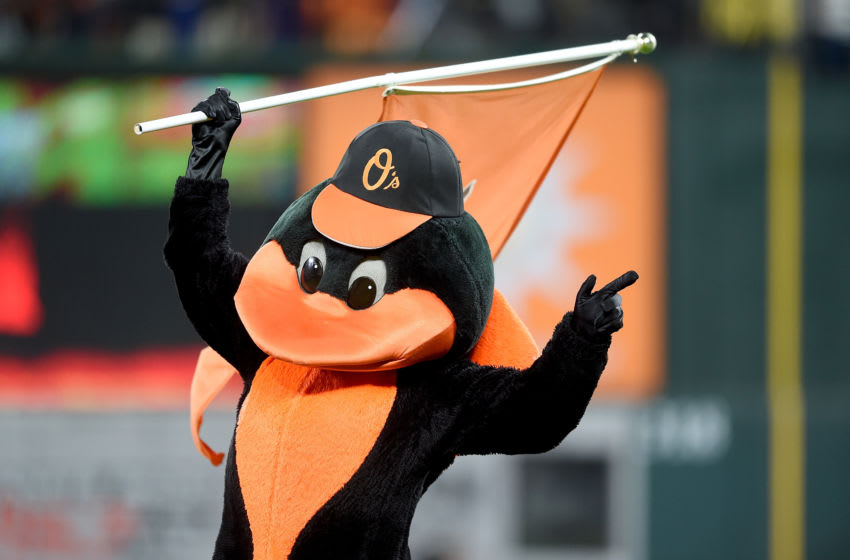 BALTIMORE, MD - APRIL 24: The Baltimore Orioles mascot celebrates after a victory against the Chicago White Sox at Oriole Park at Camden Yards on April 24, 2019 in Baltimore, Maryland. (Photo by G Fiume/Getty Images)