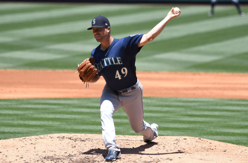 ANAHEIM, CA - JUNE 09: Wade LeBlanc #49 of the Seattle Mariners pitches in the second inning of the game against the Los Angeles Angels of Anaheim at Angel Stadium of Anaheim on June 9, 2019 in Anaheim, California. (Photo by Jayne Kamin-Oncea/Getty Images)