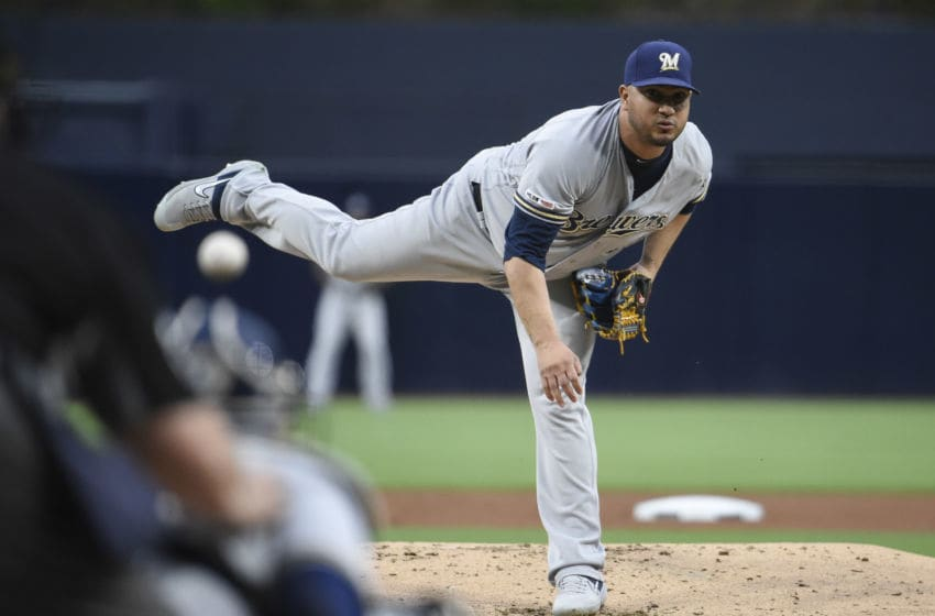 SAN DIEGO, CA - JUNE 17: Jhoulys Chacin #45 of the Milwaukee Brewers pitches during the first inning of a baseball game against the San Diego Padres at Petco Park June 17, 2019 in San Diego, California. (Photo by Denis Poroy/Getty Images)