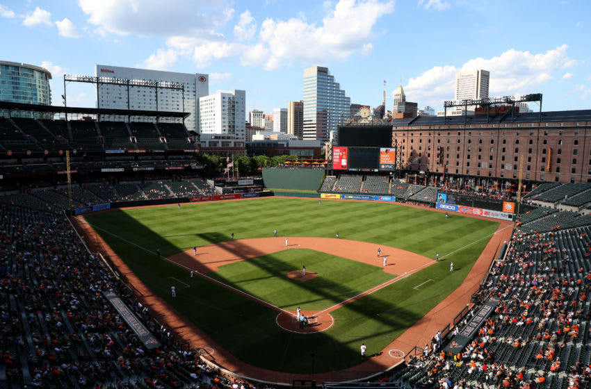 BALTIMORE, MARYLAND - JUNE 26: A general view during the eighth inning of the Baltimore Orioles and San Diego Padres game at Oriole Park at Camden Yards on June 26, 2019 in Baltimore, Maryland. (Photo by Rob Carr/Getty Images)