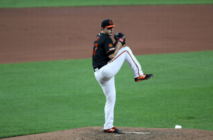 BALTIMORE, MARYLAND - JUNE 28: Starting pitcher John Means #67 of the Baltimore Orioles throws to a Cleveland Indians batter in the fourth inning at Oriole Park at Camden Yards on June 28, 2019 in Baltimore, Maryland. (Photo by Rob Carr/Getty Images)