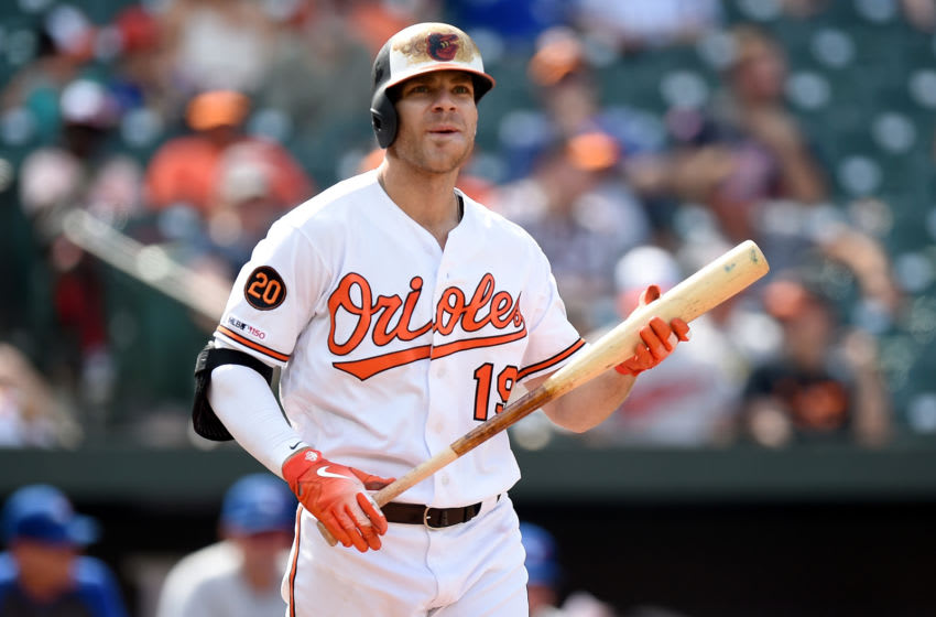 BALTIMORE, MD - AUGUST 04: Chris Davis #19 of the Baltimore Orioles reacts after striking out in the eighth inning against the Toronto Blue Jays at Oriole Park at Camden Yards on August 4, 2019 in Baltimore, Maryland. (Photo by Greg Fiume/Getty Images)
