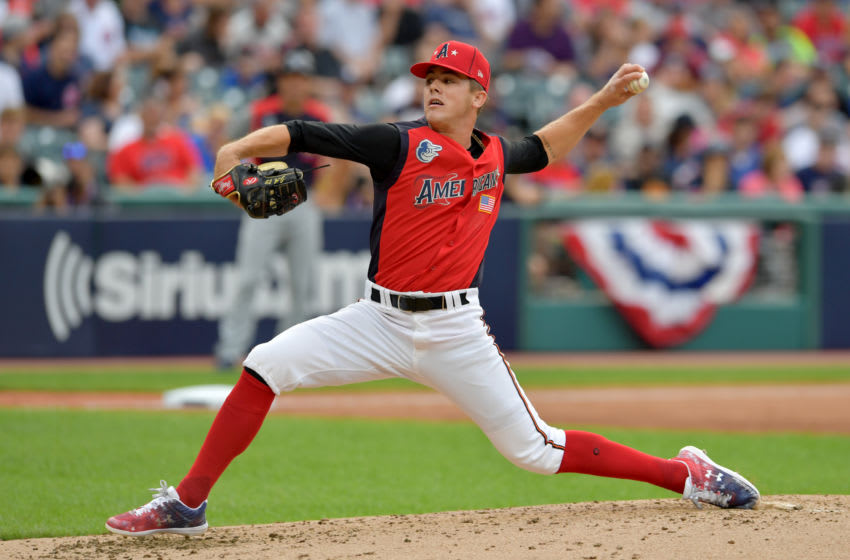 CLEVELAND, OHIO - JULY 07: DL Hall #21 of the American League pitches during the third inning against the National League during the All-Stars Futures Game at Progressive Field on July 07, 2019 in Cleveland, Ohio. The American and National League teams tied 2-2. (Photo by Jason Miller/Getty Images)