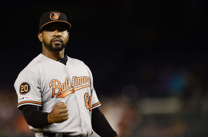 WASHINGTON, DC - AUGUST 27: Mychal Givens #60 of the Baltimore Orioles celebrates after the Orioles defeated the Washington Nationals 2-0 during the interleague game at Nationals Park on August 27, 2019 in Washington, DC. (Photo by Patrick McDermott/Getty Images)