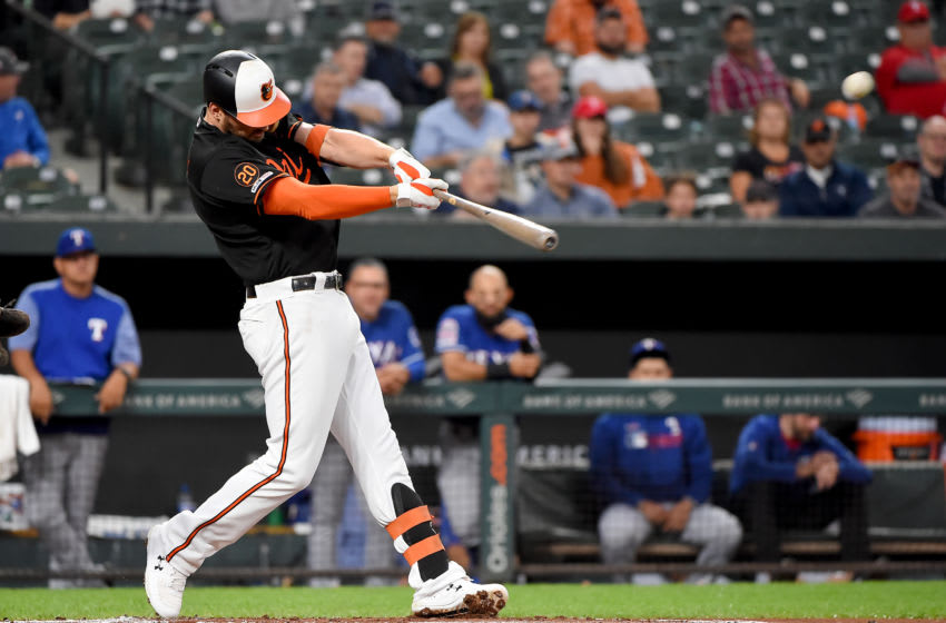 BALTIMORE, MD - SEPTEMBER 06: Trey Mancini #16 of the Baltimore Orioles hits a solo home run during the first inning against the Texas Rangers at Oriole Park at Camden Yards on September 6, 2019 in Baltimore, Maryland. (Photo by Will Newton/Getty Images)