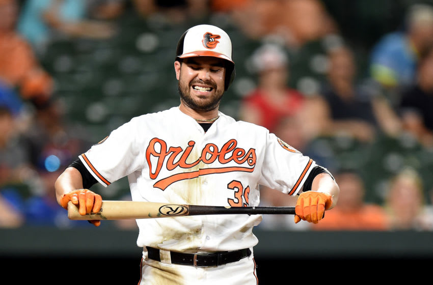 BALTIMORE, MD - AUGUST 19: Renato Nunez #39 of the Baltimore Orioles reacts after striking out against the Kansas City Royals at Oriole Park at Camden Yards on August 19, 2019 in Baltimore, Maryland. (Photo by G Fiume/Getty Images)