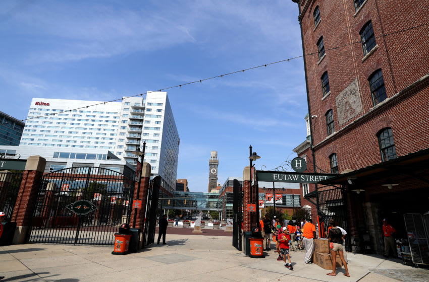 BALTIMORE, MARYLAND - SEPTEMBER 22: A general view of the Eutaw Street entrance during the Baltimore Orioles and Seattle Mariners game at Oriole Park at Camden Yards on September 22, 2019 in Baltimore, Maryland. (Photo by Rob Carr/Getty Images)