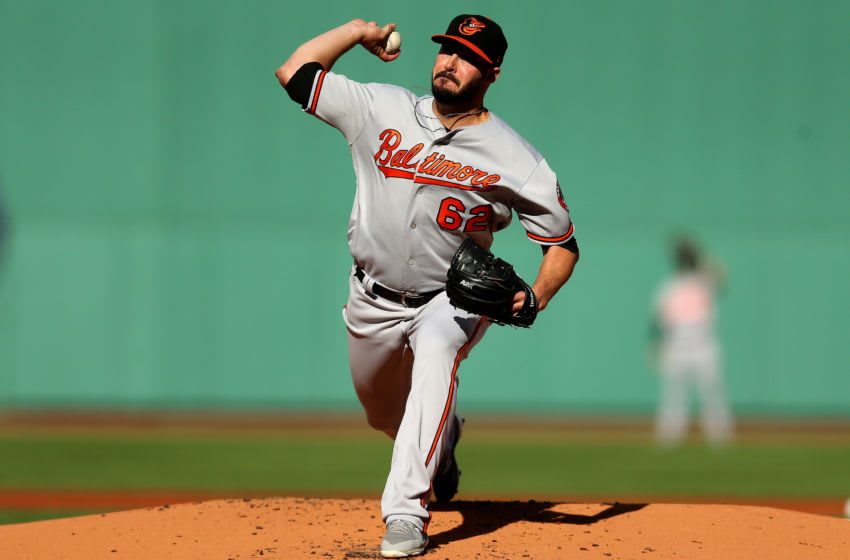 BOSTON, MASSACHUSETTS - SEPTEMBER 29: Starting pitcher Chandler Shepherd #62 of the Baltimore Orioles throws against the Boston Red Sox during the second inning at Fenway Park on September 29, 2019 in Boston, Massachusetts. (Photo by Maddie Meyer/Getty Images)