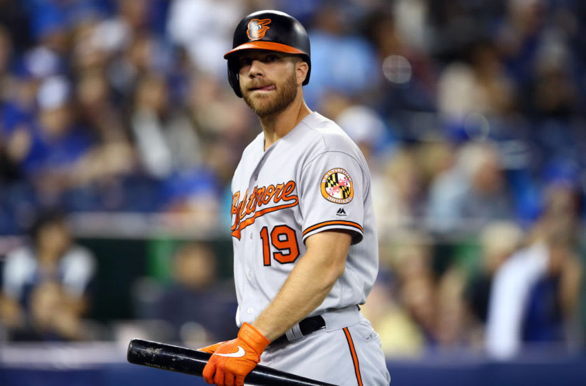 TORONTO, ON - SEPTEMBER 25: Chris Davis #19 of the Baltimore Orioles reacts after striking out in the fifth inning during a MLB game against the Toronto Blue Jays at Rogers Centre on September 25, 2019 in Toronto, Canada. (Photo by Vaughn Ridley/Getty Images)
