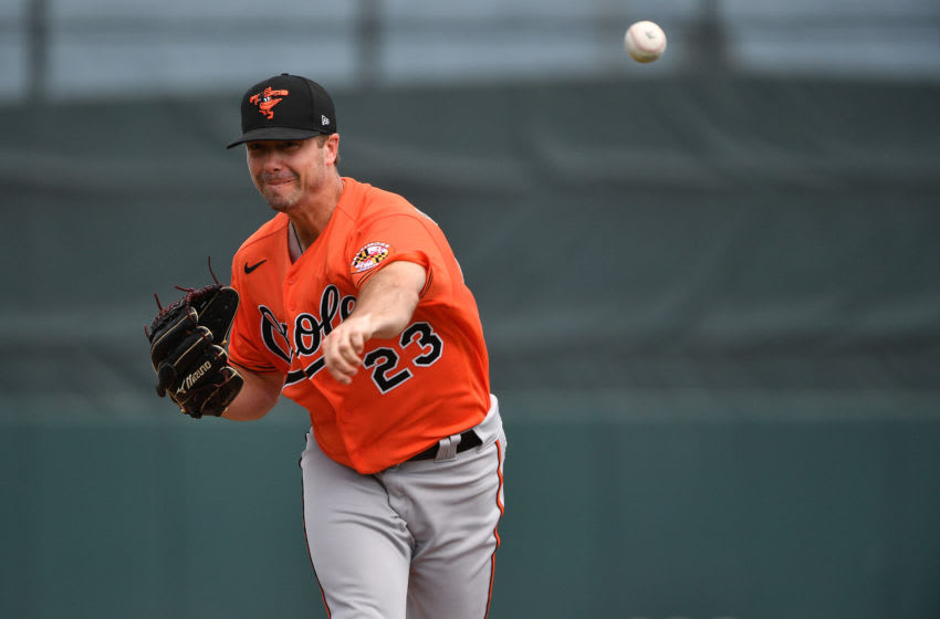 JUPITER, FLORIDA - MARCH 04: Wade LeBlanc #23 of the Baltimore Orioles delivers a pitch during the spring training game against the Miami Marlins at Roger Dean Chevrolet Stadium on March 04, 2020 in Jupiter, Florida. (Photo by Mark Brown/Getty Images)