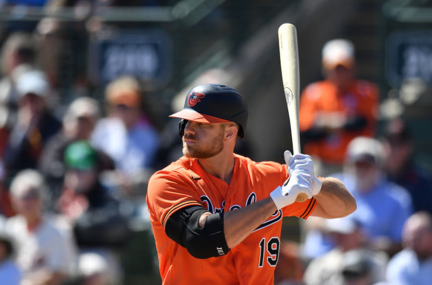SARASOTA, FLORIDA - FEBRUARY 29: Chris Davis #19 of the Baltimore Orioles bats during the spring training game against the Miami Marlins at Ed Smith Stadium on February 29, 2020 in Sarasota, Florida. (Photo by Mark Brown/Getty Images)