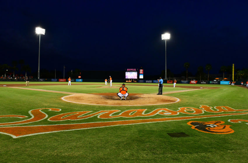 SARASOTA, FLORIDA - MARCH 10: A general view of Ed Smith Stadium during a Grapefruit League spring training game between the Baltimore Orioles and the Atlanta Braves on March 10, 2020 in Sarasota, Florida. (Photo by Julio Aguilar/Getty Images)