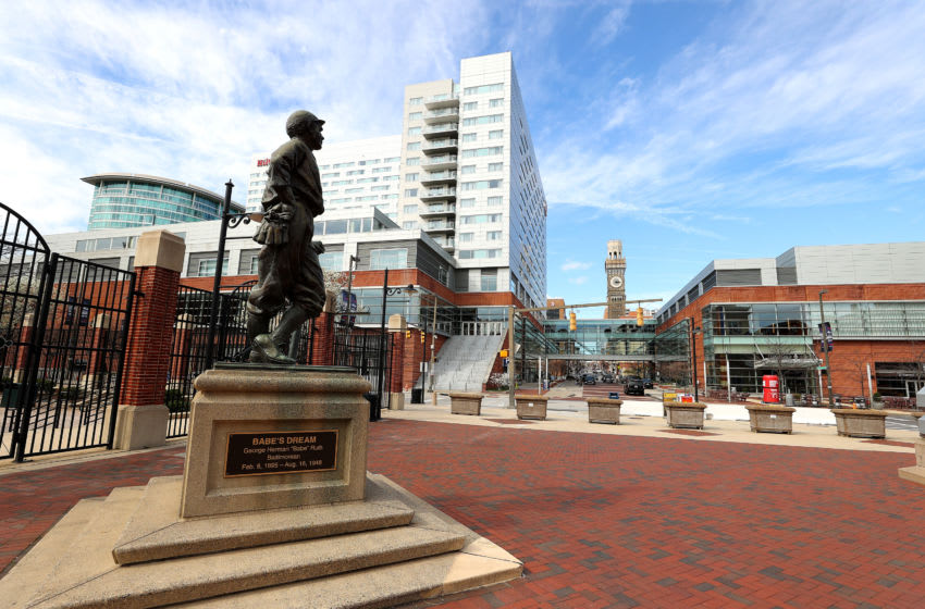 BALTIMORE, MARYLAND - MARCH 13: A general view of the statue of Babe Ruth is shown outside of Oriole Park at Camden Yards on March 13, 2020 in Baltimore, Maryland. Major League Baseball cancelled spring training games and has delayed opening day by at least two weeks due to COVID-19. (Photo by Rob Carr/Getty Images)