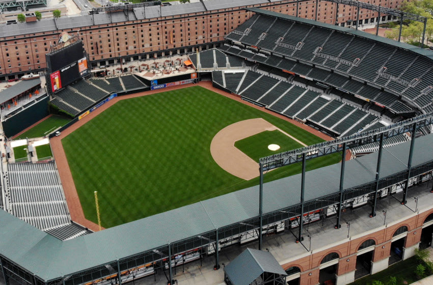 BALTIMORE, MD. - APRIL 29: An aerial view from a drone shows the Camden Yards baseball stadium on April 29, 2020 in Baltimore, Maryland. Baseball season has been put on hold due to states enacting stay-at-home orders and banning all non-essential travel to slow the spread of the coronavirus. (Photo by Mark Wilson/Getty Images)