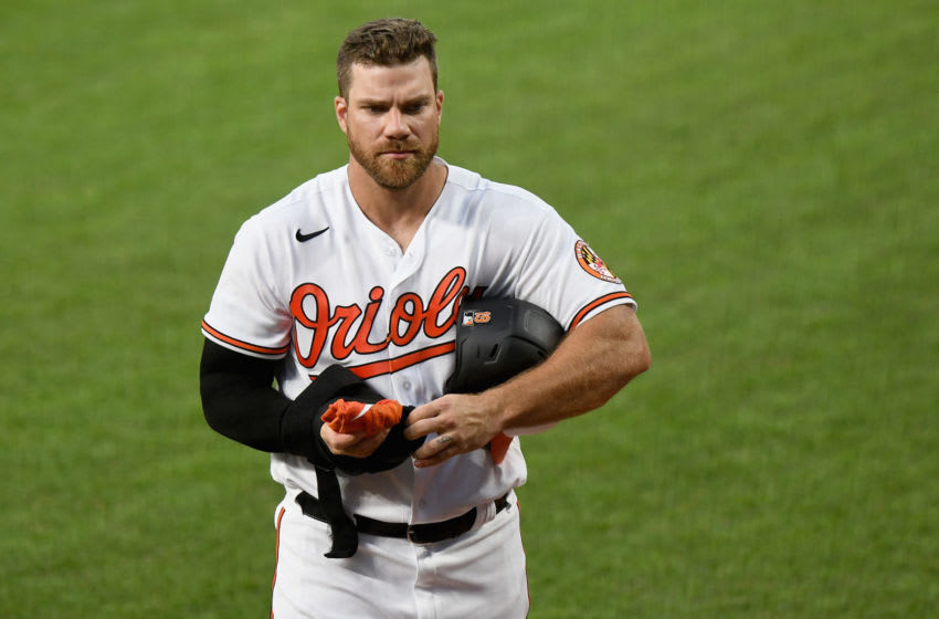 BALTIMORE, MD - JULY 09: Chris Davis #19 of the Baltimore Orioles walks to the dugout during an intrasquad game at Oriole Park at Camden Yards on July 9, 2020 in Baltimore, Maryland. (Photo by Greg Fiume/Getty Images)