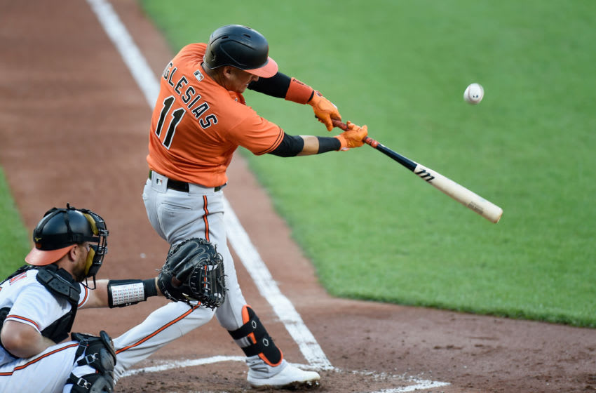 BALTIMORE, MD - JULY 09: Jose Iglesias #11 of the Baltimore Orioles bats during an intrasquad game at Oriole Park at Camden Yards on July 9, 2020 in Baltimore, Maryland. (Photo by Greg Fiume/Getty Images)