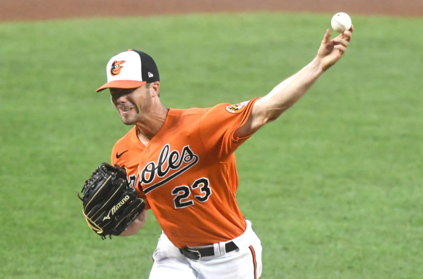 BALTIMORE, MD - AUGUST 01: Wade LeBlanc #23 of the Baltimore Orioles pitches in the third inning during a baseball game against the Tampa Bay Rays on August 1, 2020 at Oriole Park at Camden Yards in Baltimore, Maryland. (Photo by Mitchell Layton/Getty Images)